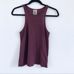 FREE PEOPLE | plum color ribbed racer back top